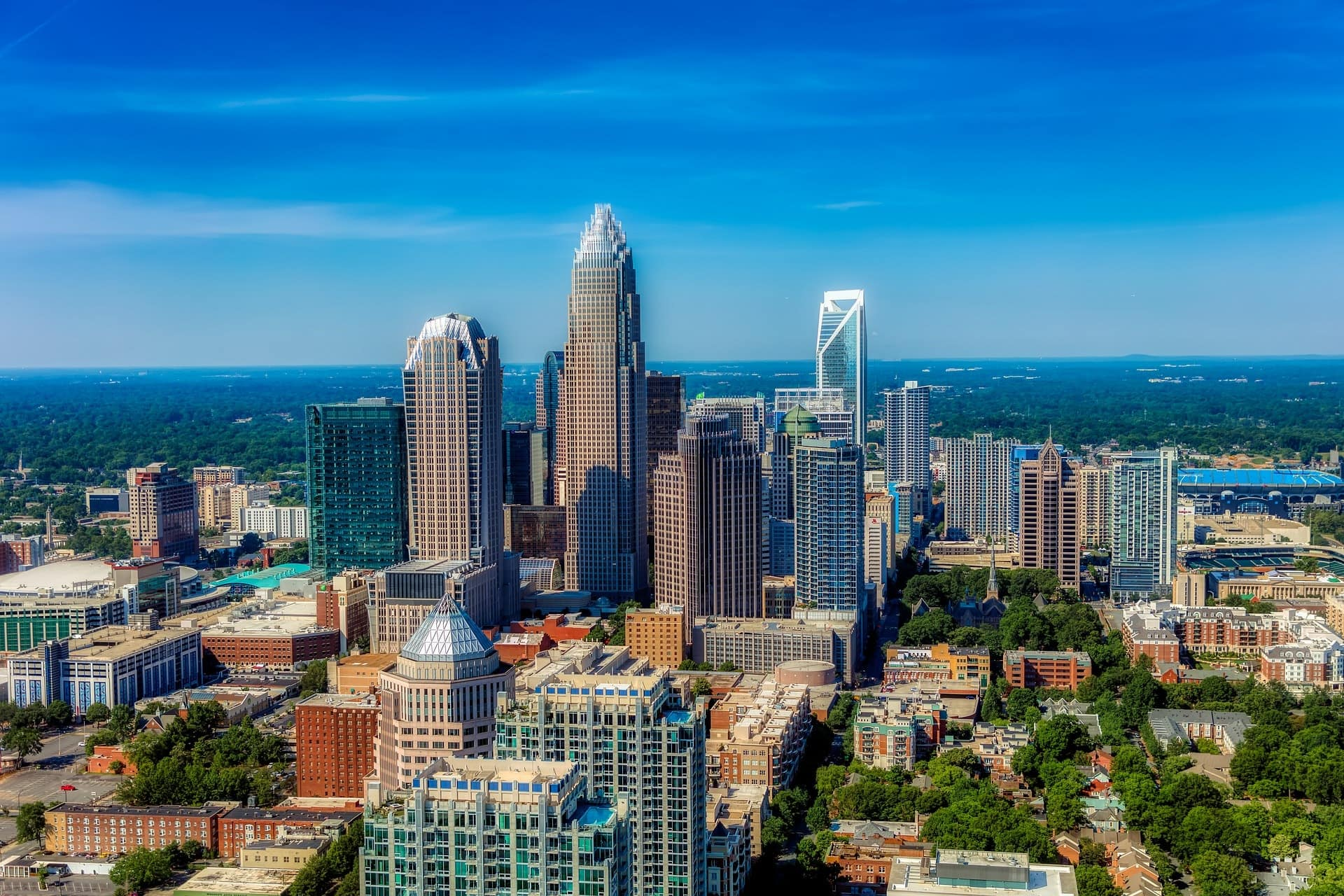 An aerial view of the city of charlotte